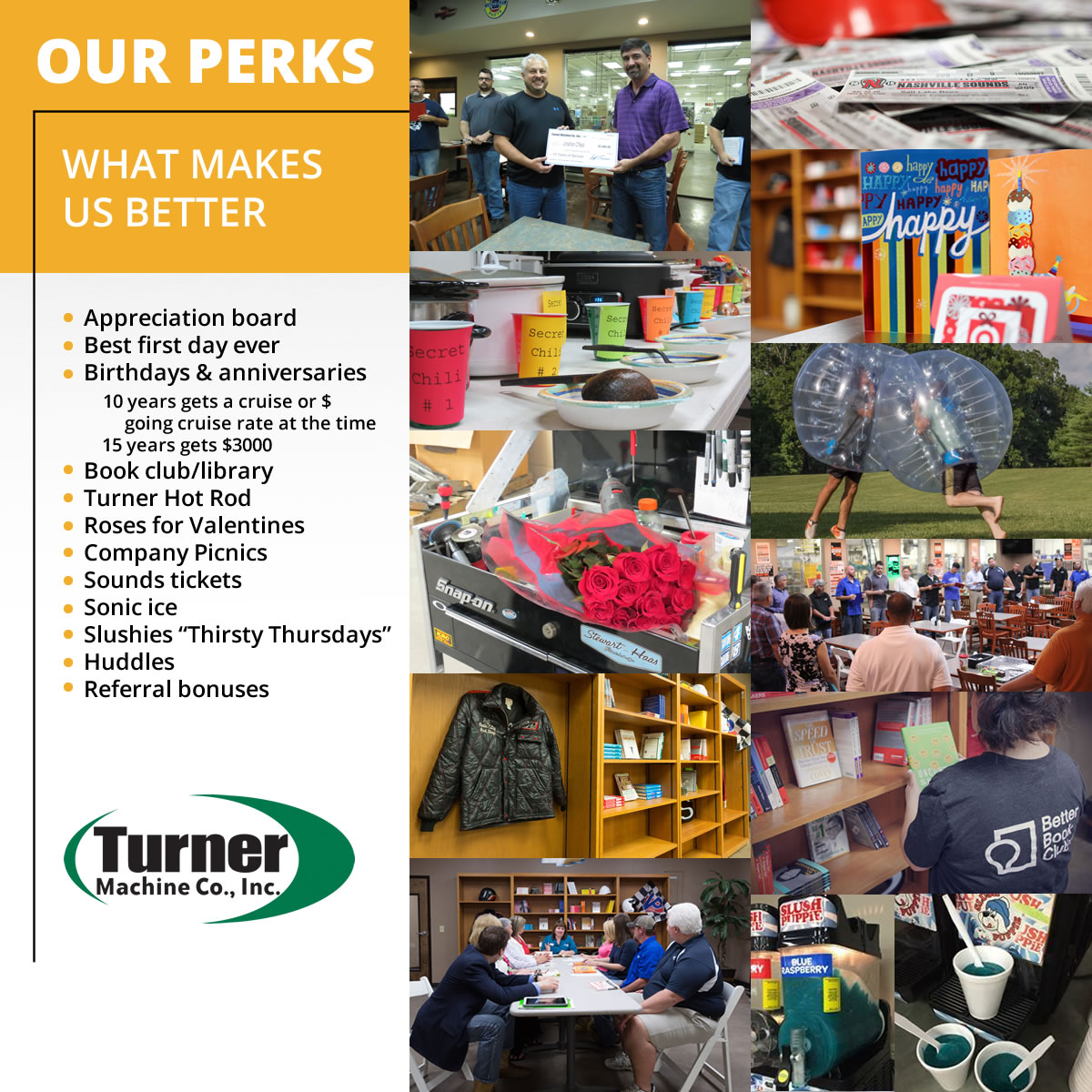 Our Perks, What Makes Turner Machine Better